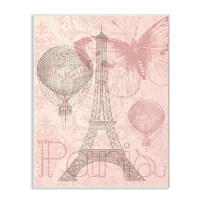 "10 in. x 15 in. ""Eiffel Tower Hot Air Balloon Paris"" by Daphne Polselli Printed Wood Wall Art"