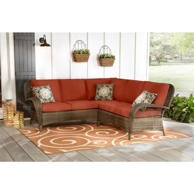 Beacon Park 3-Piece Brown Wicker Outdoor Patio Sectional Sofa with CushionGuard Quarry Red Cushions