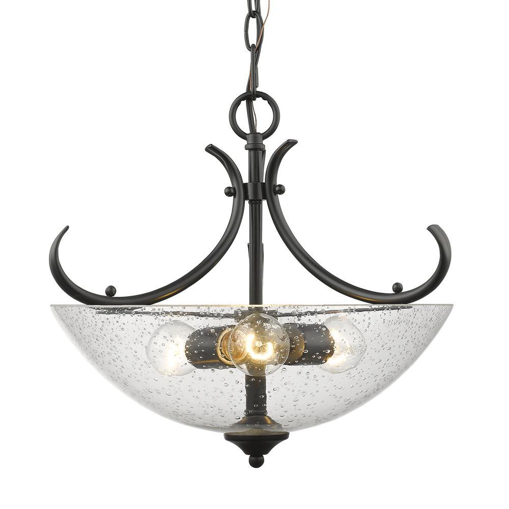 Parrish 3-Light Black Semi-Flushmount Light