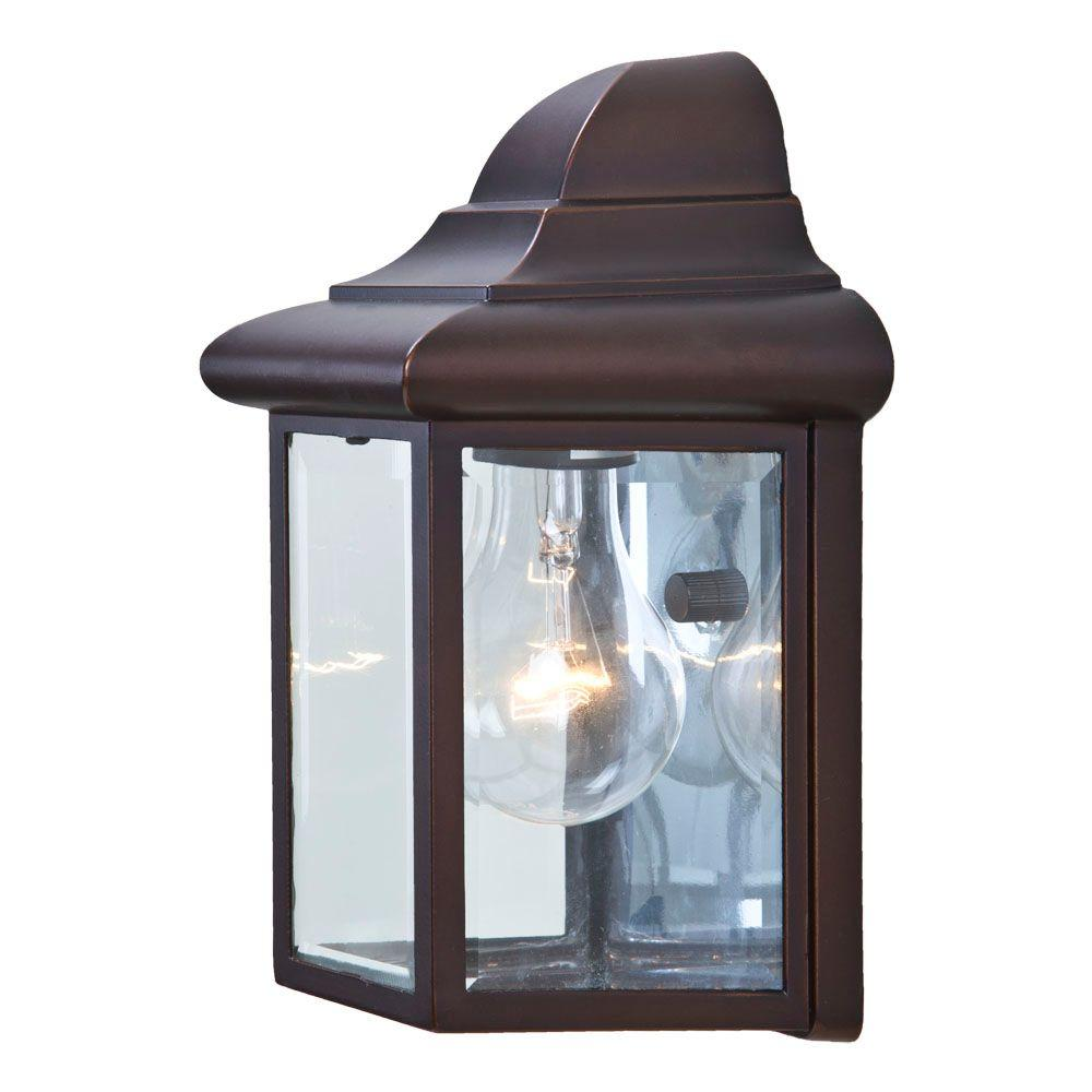Pocket Lantern Collection 1-Light Architectural Bronze Outdoor Wall-Mount Fixture