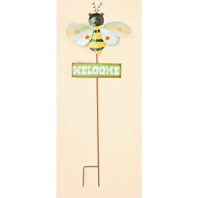 35 in. Metal Bumble Bee Garden Stake With Green Welcome Sign