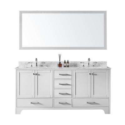 Double Sink Bathroom Vanity In White With Carrara Marble Top And Mirror