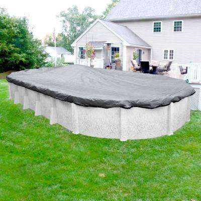 Dura-Guard Mesh 15 ft. x 27 ft. Pool Size Oval Gray and Black Mesh Above Ground Winter Pool Cover