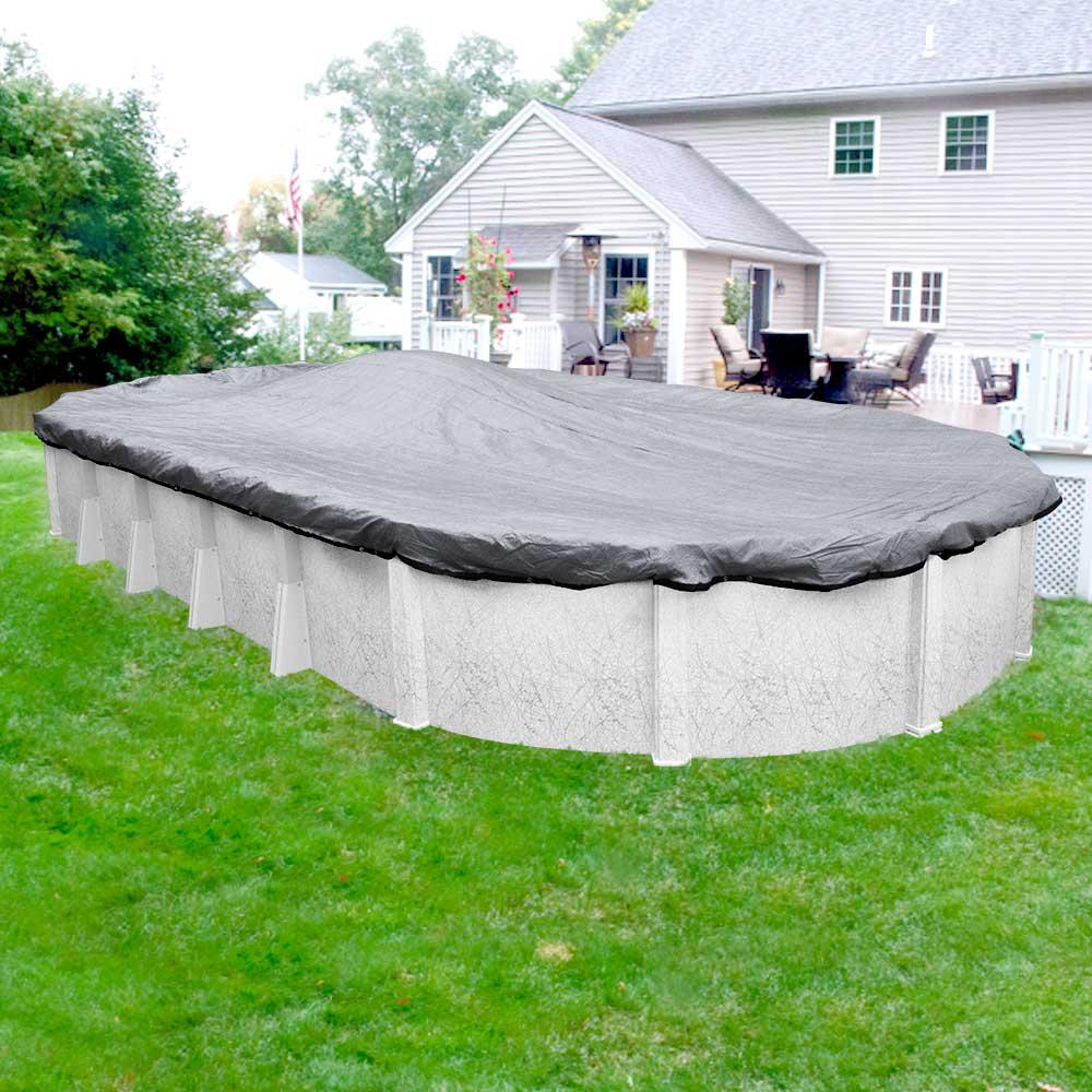 Robelle Dura-Guard Mesh 12 ft. x 18 ft. Oval Gray and Black Mesh Above Ground Winter Pool Cover