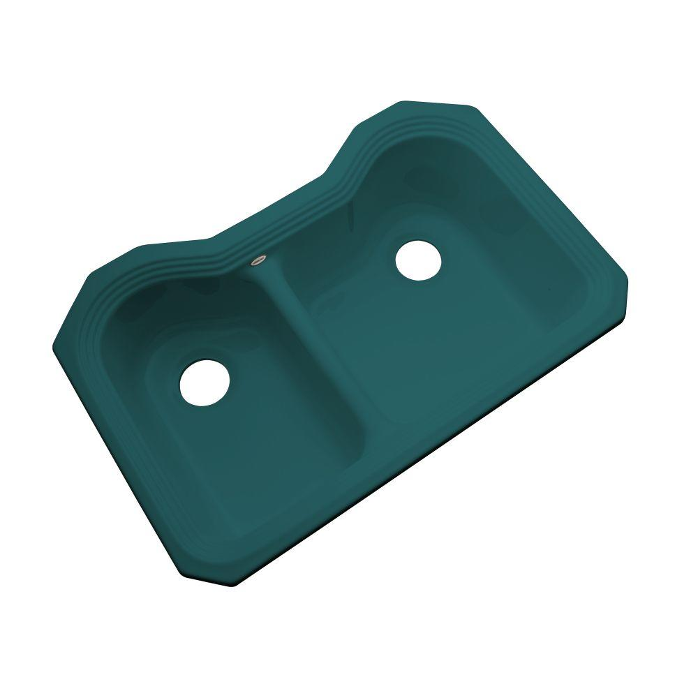 Thermocast Breckenridge Undermount Acrylic 33 in. Double Bowl Kitchen Sink in Teal