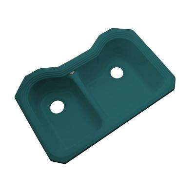 Breckenridge Undermount Acrylic 33 in. Double Bowl Kitchen Sink in Teal