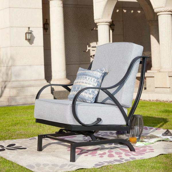 Patio Festival Metal Outdoor Rocking Chair With Gray Cushions Pf19110 G The Home Depot