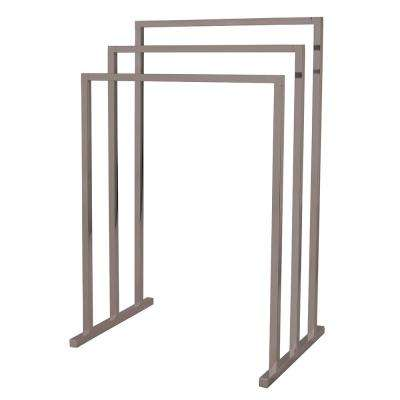 European 3 Bar Pedestal Steel Construction Towel Rack In Brushed Nickel
