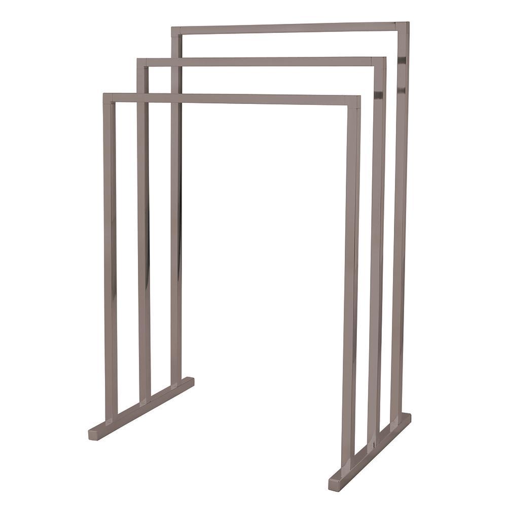 European 3-Tier Pedestal Steel Construction Towel Rack in Satin Nickel
