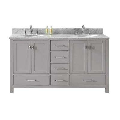 Caroline Avenue 60 in. W Bath Vanity in Cashmere Gray with Marble Vanity Top in White with Round Basin
