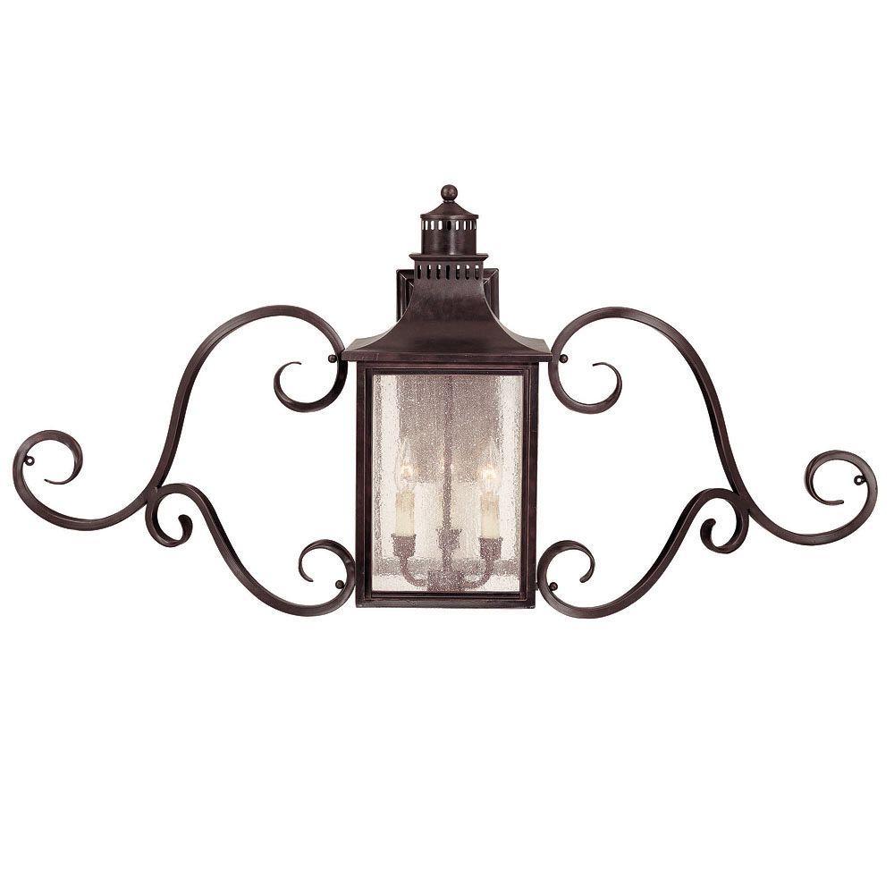 3 Light Wall Mount Lantern w/Scrolls English Bronze Finish Pale Cream Seeded Glass