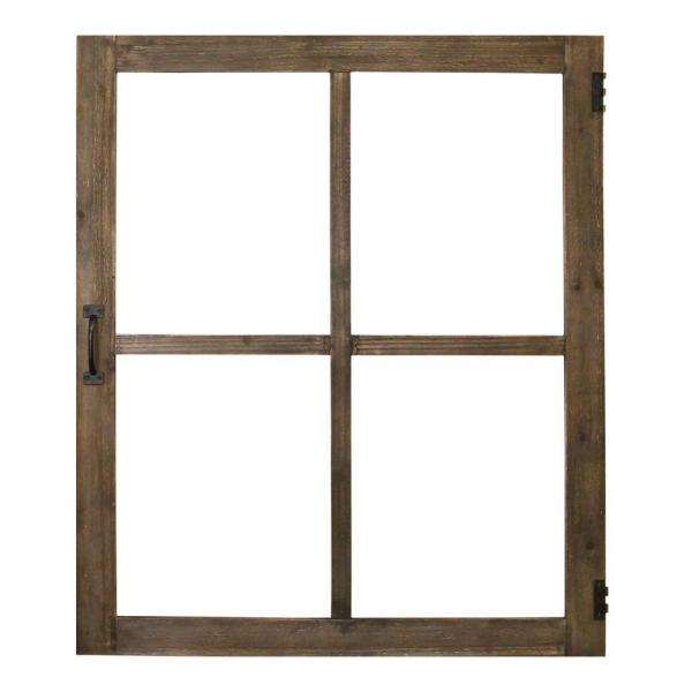 Walnut Wood Windowpane Wall Decor w/ Metal Hinges