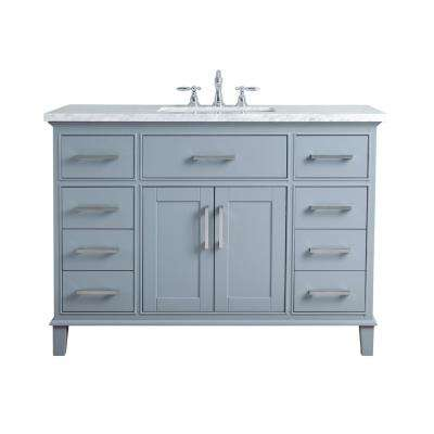 48 in. Leigh Single Sink Bathroom Vanity in Grey with Carrara Marble Vanity Top in White with White Basin