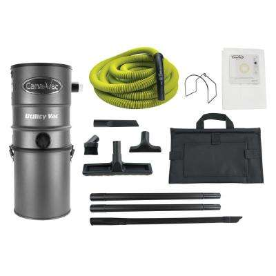 Wall-Mounted Power Utility Central Vacuum Cleaner with 50 ft. Hose Ultimate Package Ideal for Garages or Workshops