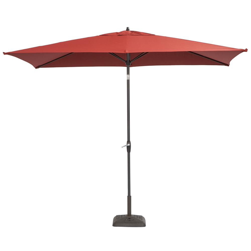 Hampton bay 10 ft x 6 ft aluminum patio umbrella in for Balcony umbrella