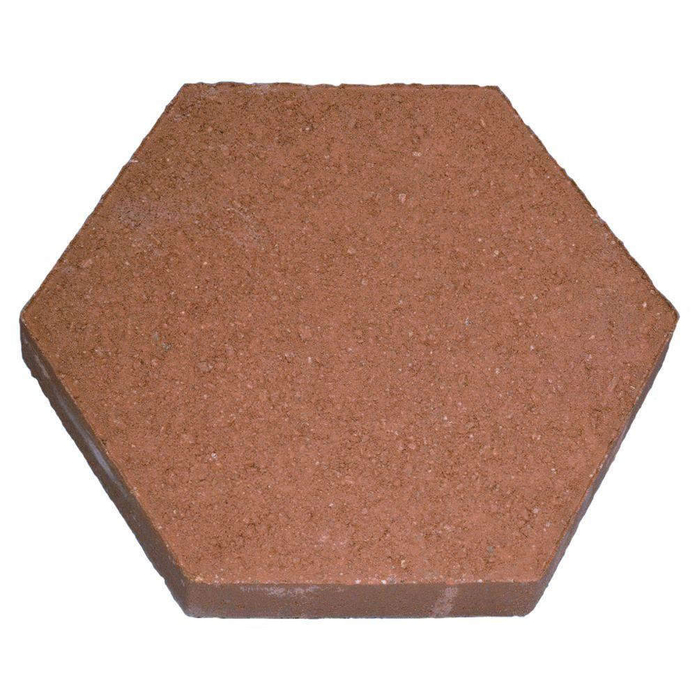 12 In Hexagon Red Stepping Stone 100003016 The Home Depot