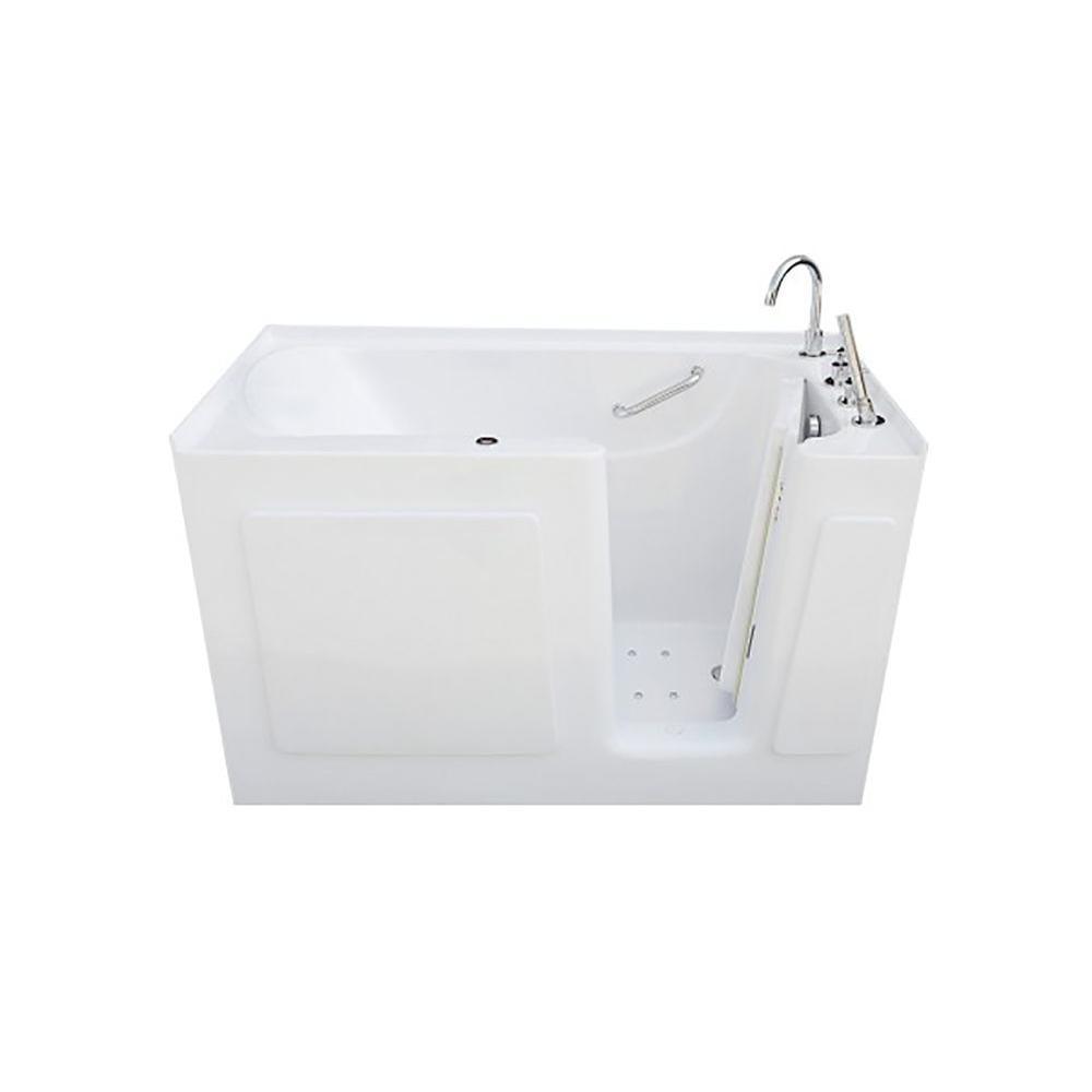 4.5 ft. Right Drain Walk-In Air Bath Tub in White