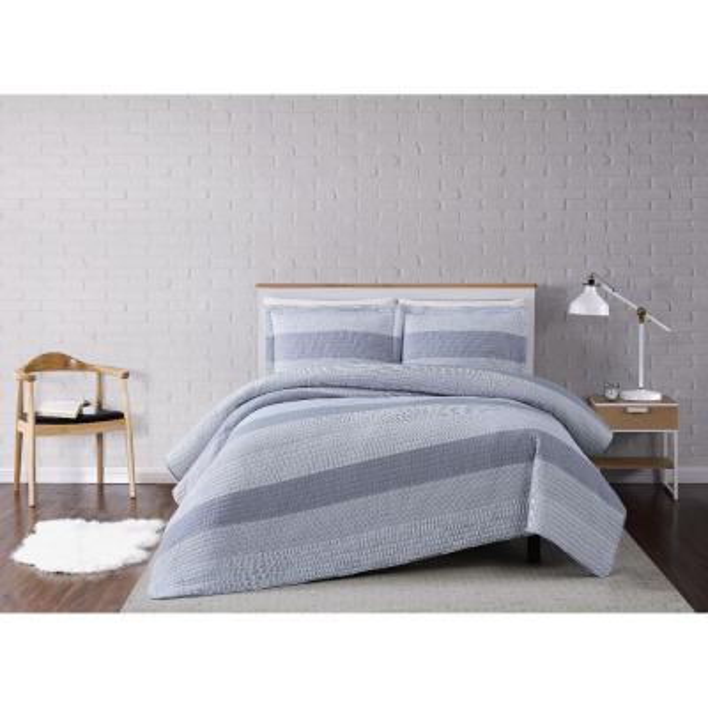 Grey Multi Stripe Full/Queen 3 Piece Quilt Set