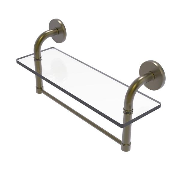 Allied Brass Remi Collection 16 In Glass Vanity Shelf With Integrated Towel Bar In Antique Brass Rm 1 16tb Abr The Home Depot