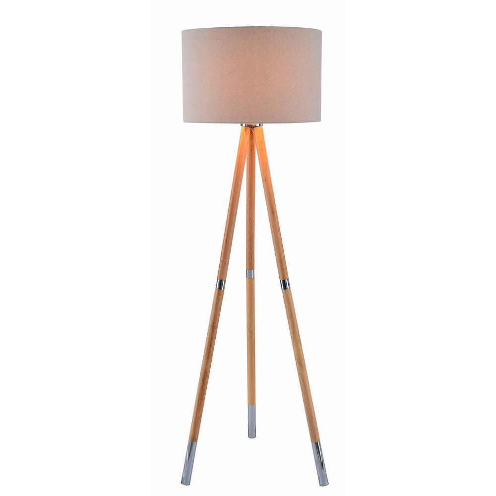 Wood Grain Floor Lamp With Cream Shade