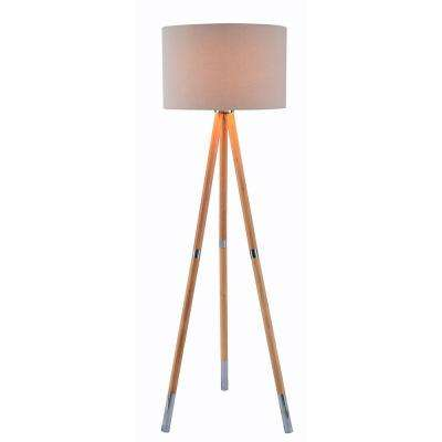Jordon 60 in. Wood Grain Floor Lamp with Cream  Shade