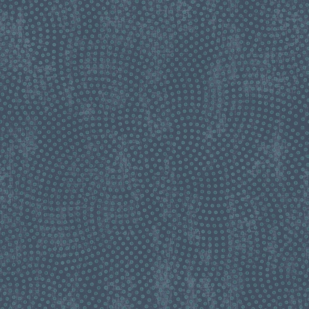 Seabrook Designs Marsha Midnight Blue and Metallic Teal Dot Wallpaper RL61402