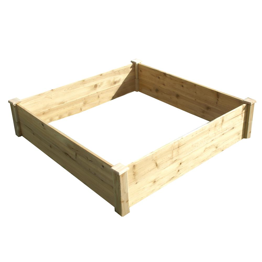 4 ft. x 4 ft. x 17.5 in. Wood Raised Garden