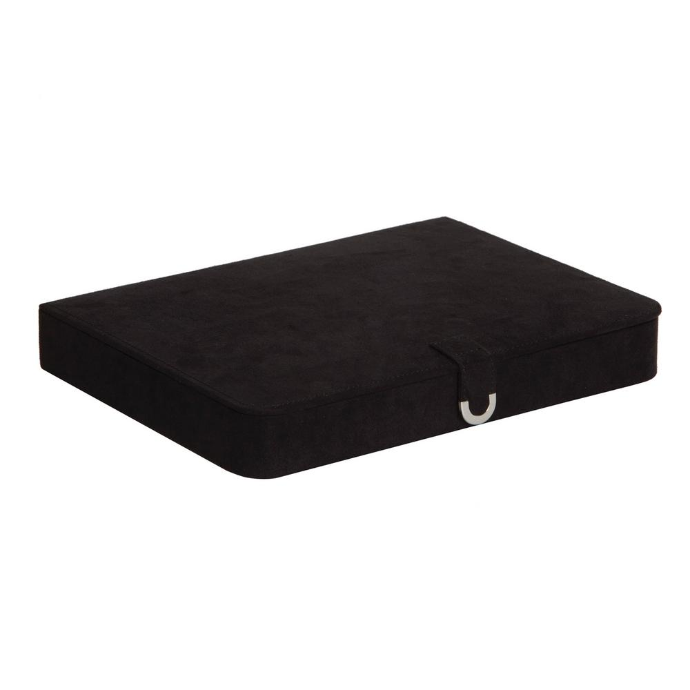 Cameron Black Plush Fabric Jewelry Box