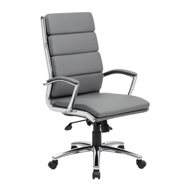 Boss Grey Executive CaressoftPlus Chair with Metal Chrome B9471-GY