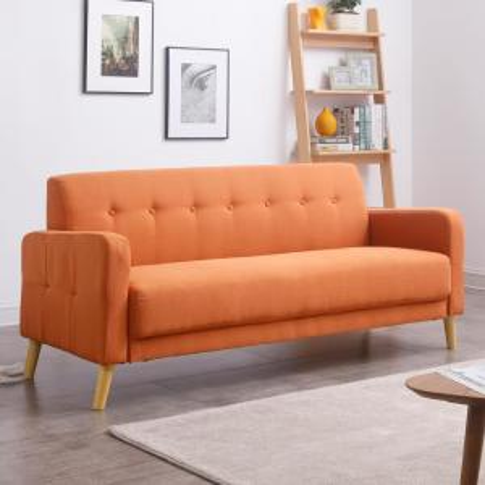 AC Pacific Jans Orange Mid-Century Modern Sofa with Stylish ...