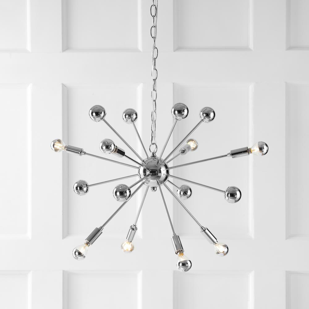 Glenn 22.5 in. 8-Light Chrome Metal Sputnik-Style Chandelier