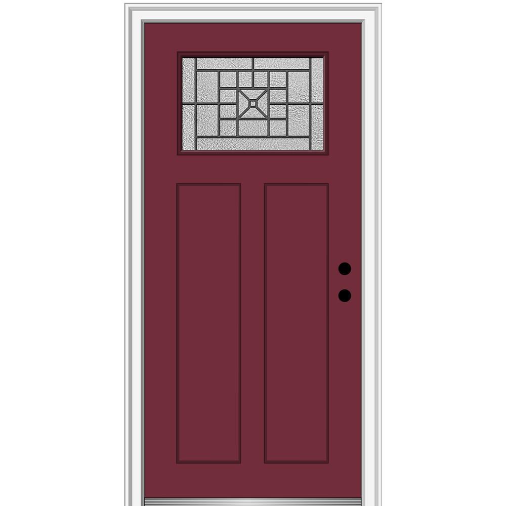 MMI Door 36 in. x 80 in. Courtyard Left-Hand 1-Lite Decorative Craftsman Painted Fiberglass Prehung Front Door, 4-9/16 in. Frame, Burgundy/Brilliant was $1444.56 now $939.0 (35.0% off)