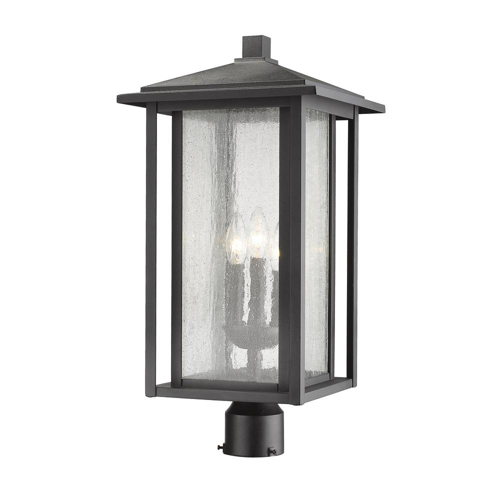 Caspian 3-Light Outdoor Black Post Light with Clear Ribbed Glass