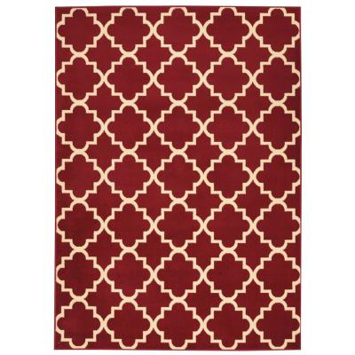 Grafix Red 5 ft. x 7 ft. Moroccan Modern Area Rug