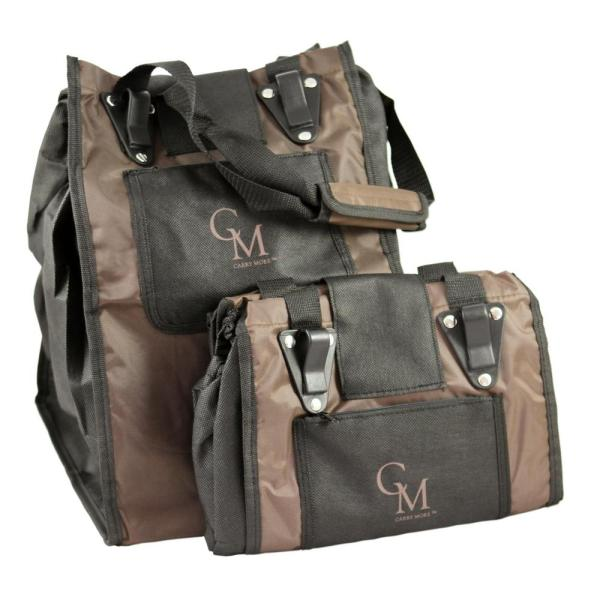 4d5a99d7650 CarryMore Reusable Sturdy Shopping Tote Bag in Brown with Black Trimming (2 -Pack