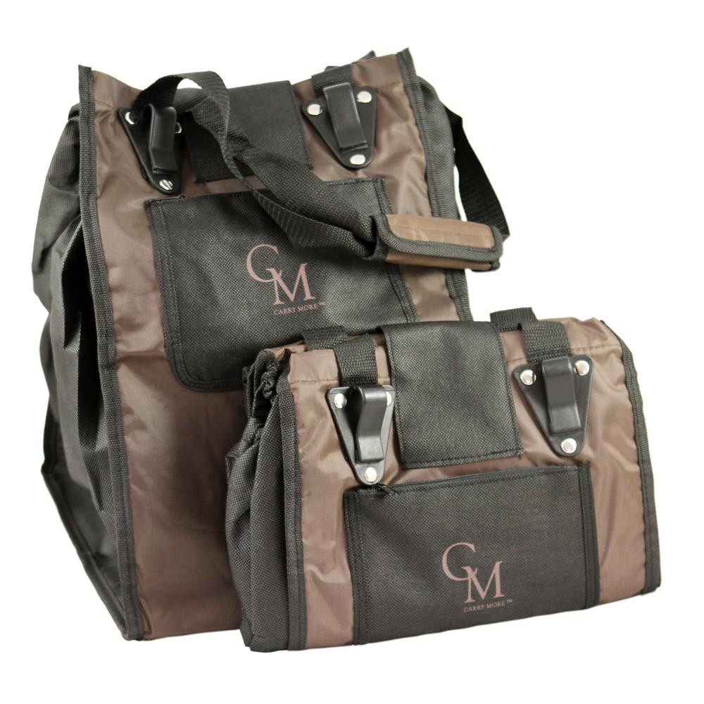 Reusable Sturdy Shopping Tote/Bag in Brown with Black Trimming (2-Pack)