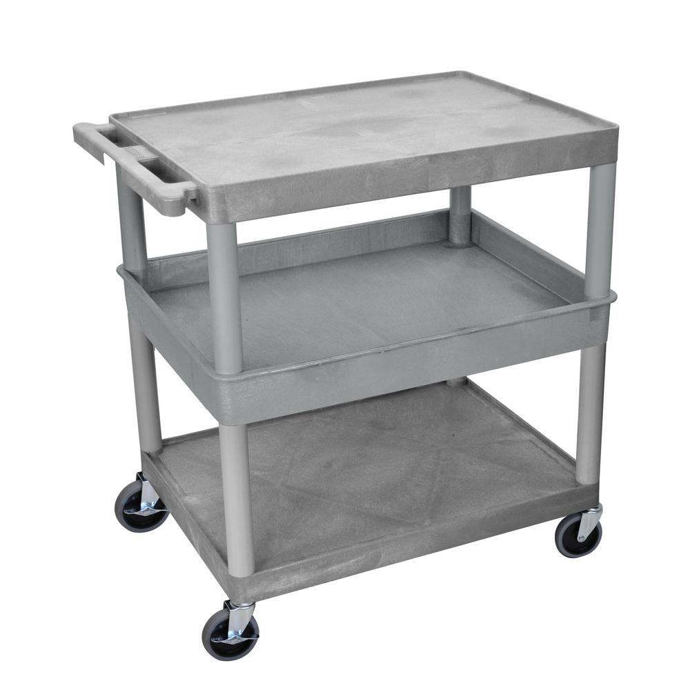 TC 32 in. 3 Shelf Utility Cart, Gray