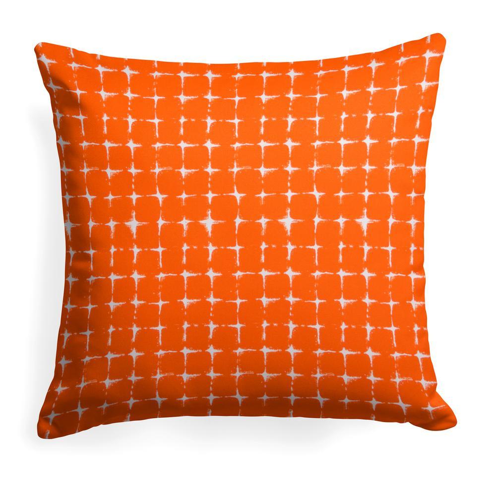 Sea Island Orange Square Outdoor Throw Pillow