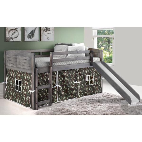 Donco Kids Antique Grey Twin Louver Low Loft Bed With Slide And Camo Tent Kit 790 Aag 750c Tc 785 Ag The Home Depot