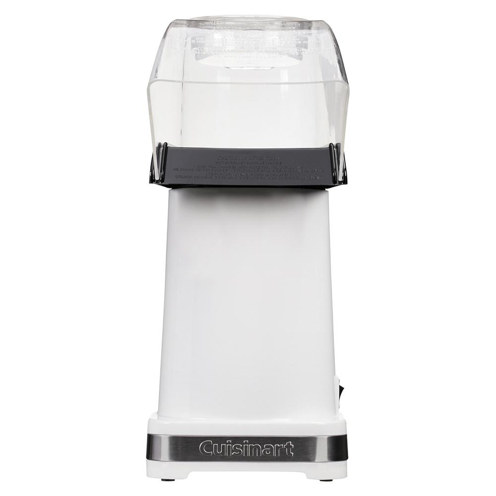 Easy Pop Hot Air Popcorn Maker, White Pop healthier popcorn with hot air. The Cuisinart Easy Pop Hot Air Popcorn Maker is exceptionally Easy-to-use. Kernels go into a popping chamber-no oil is required-and hot air sends up to 10 cups of popcorn up and out the chute right into a waiting bowl. And it all happens in less than 3 minutes. Color: White.