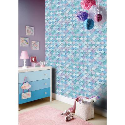 Mermazing Scales Ice Blue Paper Strippable Roll (Covers 57 sq. ft.)