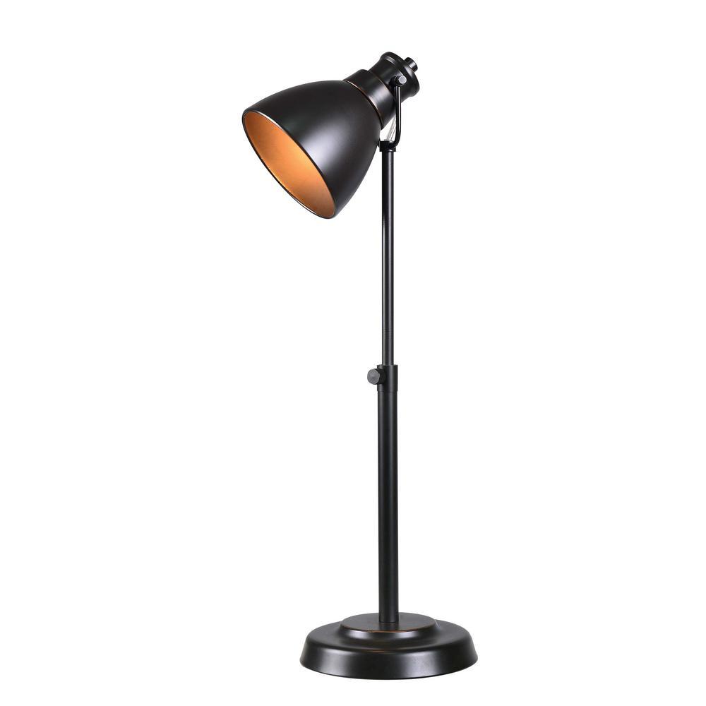 Polk 15 in. Bronze Indoor Desk Lamp with Bronze Shade