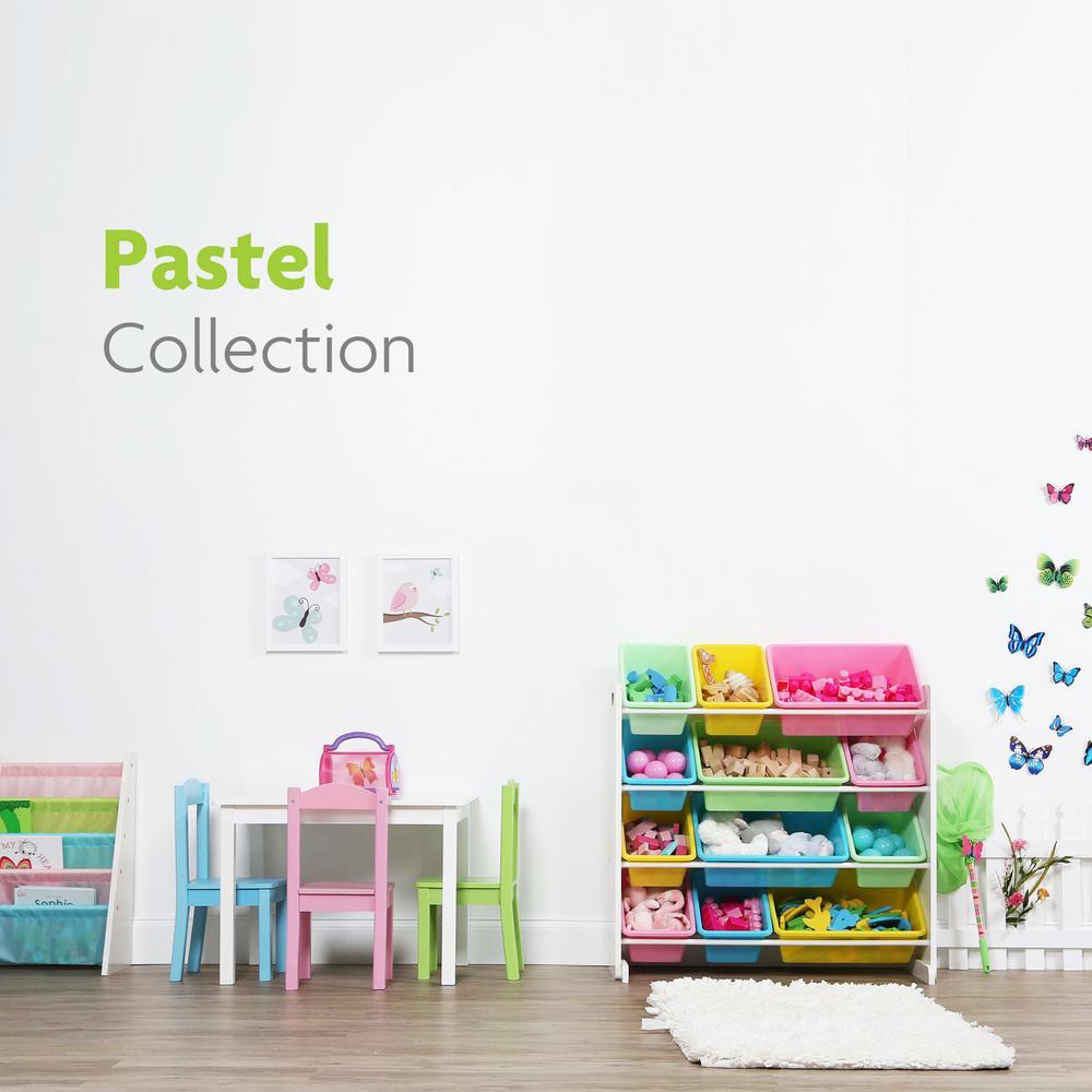Pastel Collection White/Pastel Toy Storage Organizer with 12 Plastic Bins