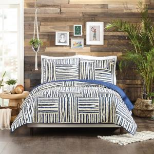 QUINN BLUE KING COTTON QUILT SET 3 PIECE BY JUSTINA BLAKENEY
