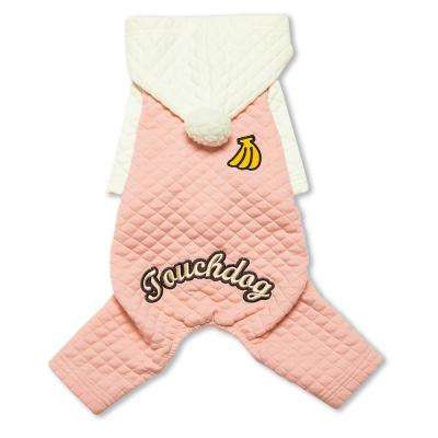 Small Pink/White Fashion Designer Full Body Quilted Pet Dog Hooded Sweater