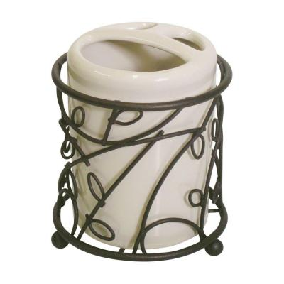 Twigz Toothbrush Holder in Bronze and Vanilla