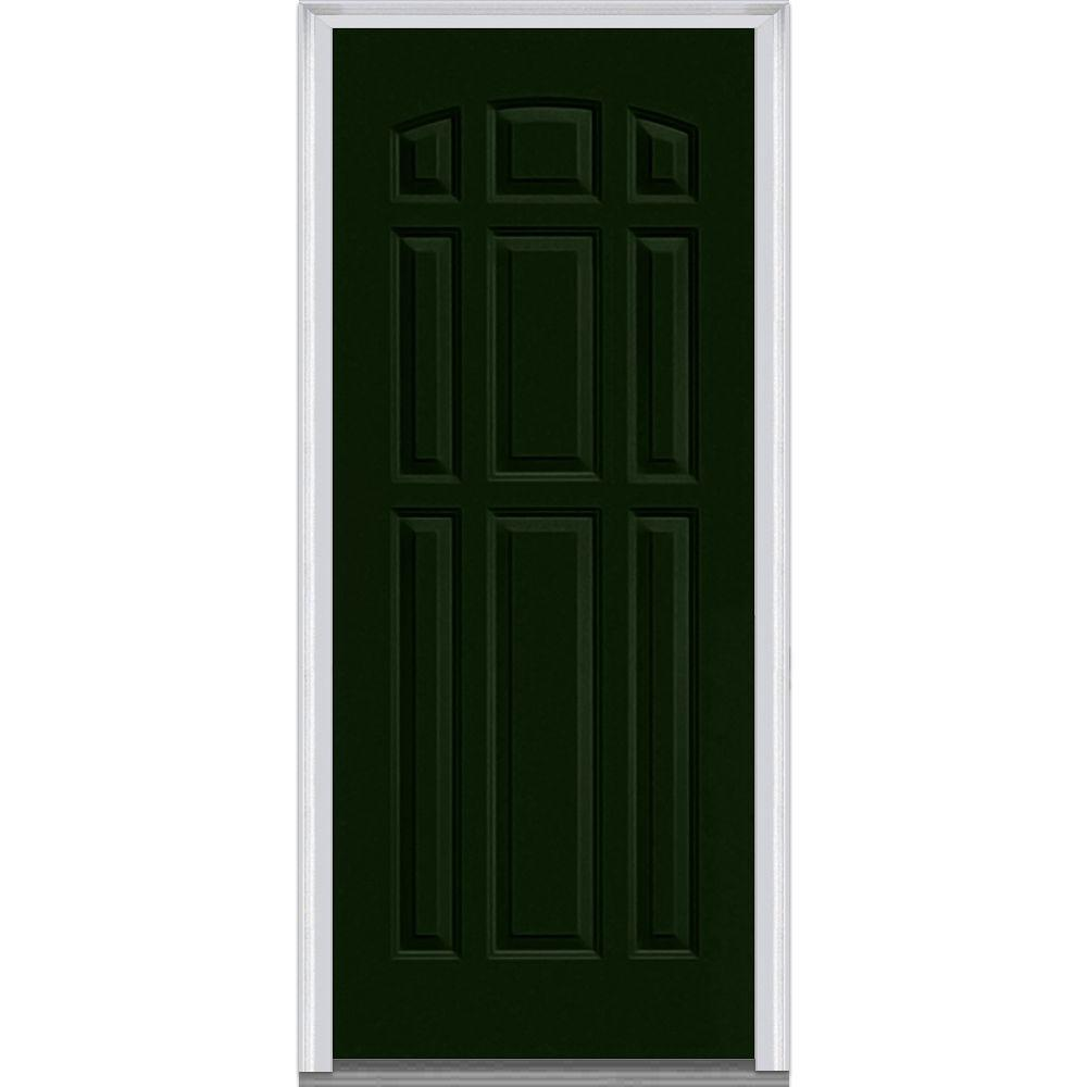 Mmi door 36 in x 80 in left hand inswing 9 panel classic painted fiberglass smooth prehung for 36 x 80 fiberglass exterior door