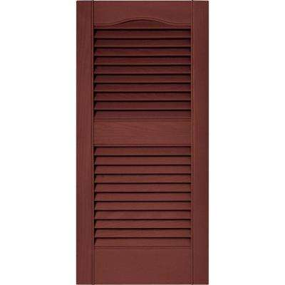 15 in. x 31 in. Louvered Vinyl Exterior Shutters Pair in #027 Burgundy Red