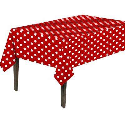 55 in. x 102 in. Indoor and Outdoor Red Polka Dot Design Table Cloth for Dining Table