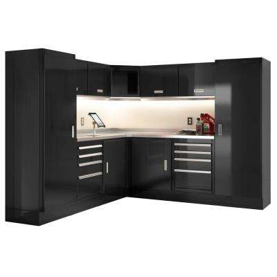 Select Series 75 in. H x 168 in. W x 22 in. D Aluminum Cabinet Set in Black with Stainless Steel Worktop (12-Piece)